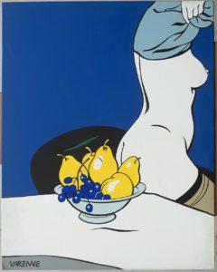 Femme nue à la coupe de fruits, pop art Alex Varenne